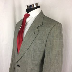 Oscar de la Renta Mens 40R Blazer Glen Plaid Silk